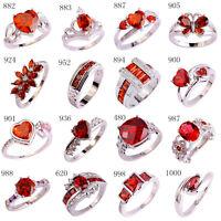 New Arrival Women Garnet Red Gemstone Silver Ring Size 6 7 8 9 10 11 12 Jewelry