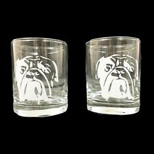 Bulldog Rocks Glasses AKA Lowball or Old Fashioned - Set of 2
