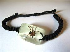 Real Spider Square Glass Goth Bracelet Strange Gift Oddity