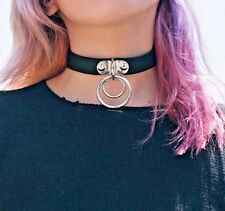 Choker Silver Double O Necklace #122 PU Leather Collar BDSM Punk Bracelet Leash