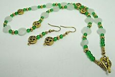 Celtic Themed Aventurine Gemstone and Kelly Green Crystal Necklace Earring Set