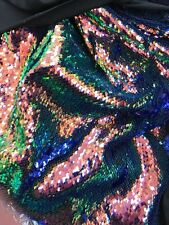 New Iridescent royal oil slik 5mm mermaid reversible sequin fabric sold by yard