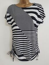 Ex D*benh*ms 10-18 Black White Monochrome Asymmetric Striped Tunic Top Blouse