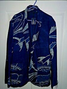 Rare Ralph Lauren Polo Designer Linen Cotton Mix Print Jacket Size 40R Indigo