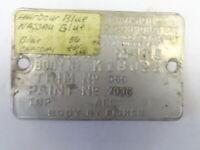 1956 56 CHEVY VINTAGE COWL TAG  56 1019 HARBOUR BLUE