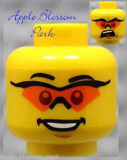 NEW Lego City Police MINIFIG HEAD -Agent w/Orange Sun Safety Eye Glasses Goggles