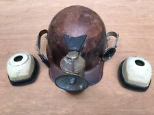 New listing Vintage Msa Miners Hardhat Helmet with Ear Muffs and Guys Dropper Carbide Lamp