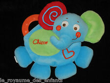 Doudou plat Eléphant Elephant bleu rouge vert Chicco Anneau de dentition