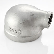 """2""""X1/2"""" Female Threaded Elbow Reducer Pipe Fitting 90 Degree angled SS304 BSPT"""