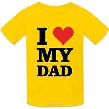 Infantil 100% Camiseta Algodón I LOVE MY Papá diseño corazón mi