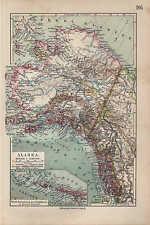 Landkarte map 1912: ALASKA. Sibirien USA Canada Kodiak Bering Sea Stiller Ozean