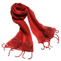 New fashion Hand Made Embroidery Wool Silk Red Scarf Scarves Stole