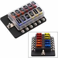 Universal 12-Way LED Circuit Standard ATO ATC Blade Fuse Box Block Holder