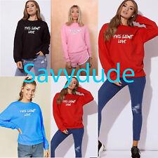 Womens Ladies Yves Saints Love Sweatshirt Slouch Pullover Sweaters Jumper Tops