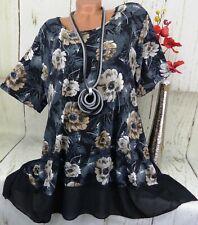 Designer Tunika Bluse Shirt Top Lagenlook A-Linie Longshirt Schwarz Bunt 48 50
