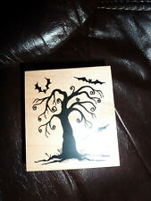 Great Impressions Wood Mounted Rubber Stamp Halloween Creepy Tree & Bats