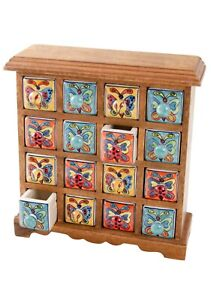 Painted Ceramic Butterfly 16-Drawer Spice Chest
