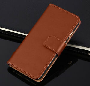 Premium Brown Real Leather Case Cover Flip Wallet iPHONE Models