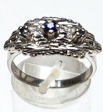 Vintage Silber Ring 835 Silber punziert - 60er Jahre 3 blaue Saphire bes. RG 54