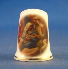Birchcroft China Thimble -- Joseph and Mary Nativity scene -- Free Dome Box