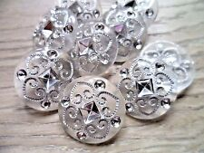 30pcs Button Acrylic Clear  With Silver Line Shank Wedding Bridal Sewing 18mm