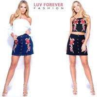Denim Floral Embroidery Patch Button Front Mini A-Line Skirt