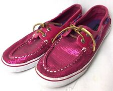 Girls Sperry Topsiders Size 4 Pink Sparkle Sequins Slip On