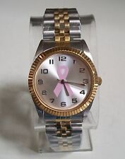 Women's Breast Cancer Awareness Pink Ribbon Silver/Gold finish Fashion Watch
