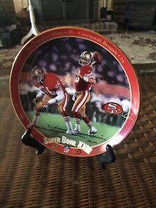 "Joe Montana Super Bowl XXIII 1993 Bradford Exchange 8"" Plate With Stand"