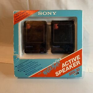 Vintage SONY SRS-30 Active Speaker System for Walkman Black NOS