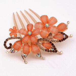 NEW Fashion Flower Crystal Rhinestone bride Hair Comb Clip- Rose