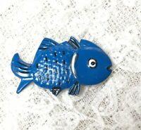 1980s Fish Brooch Vintage Retro Blue Enamel Pin Jewellery Jewelry