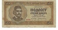 SERBIA 50 DINARS 1942 CIRCULATED BANKNOTE