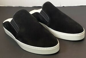 New Vince Garvey Black Suede and Shearling Slip On Sneaker Women's size 8