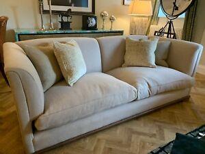 Ex Display George Smith Ashley 3 seater beige wool fabric sofa settee rrp £9800