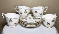 4 Royal Victoria Fine Bone China England Floral Gold Teacup And Saucer Sets 8pcs