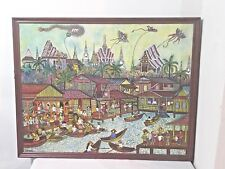 Vintage 1982 Hanging Wall Painting in Wooden Frame Size 34x27 Asian Village