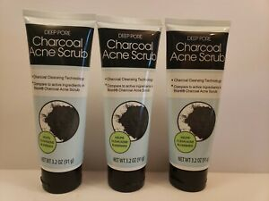 3 Tubes Deep Pore Charcoal Acne Scrub with Charcoal Cleansing Technology 3.2 oz