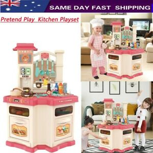 Role Play Kids Kitchen Playset W/Real Cooking /Water Boiling Sounds Pretend Play