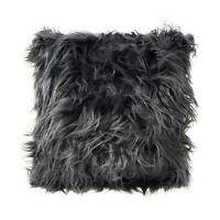 """Soft Mongolian Faux Fur Suede Charcoal Black Fluffy Thick Pile Cushion Cover 17"""""""