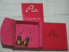 PIA Murano Green Glass Earrings - Coloured Beads, Silver Hooks NEW & BOXED