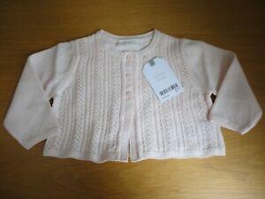 Next Baby Girls Cardigan Pale Pink 100% Cotton 3 6 9 12 Months BNWT FREEPOST