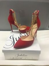 Size 8 Jubilee Red Heels With Gold Chains