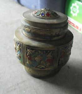 "Small Antique China Brass Enameled Trim Lidded Round Trinket Box 3 1/4"" Tall"