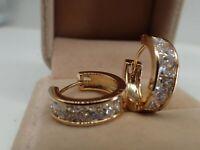 Ladies 14ct 9ct Yellow Gold GF Lab Created diamond 20mm Hoop Huggies Earrings