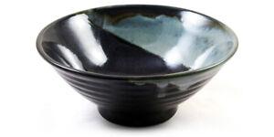 Japanese Noodle Soup, Rice, Sushi Bowl - Sky Blue & Black Glazed Ceramic