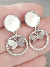 3 Pairs Stud butterfly Circle Earring  cabochon blank setting 12mm silver Tone