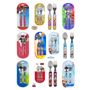 Boys Girls Cutlery Set Stainless Steel Plastic Fork Spoon For Kids and Childrens