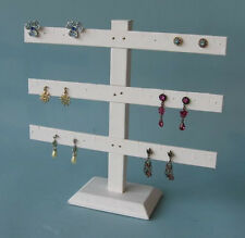 "3 Tier 10""H x 10""W  WHITE LEATHERETTE EARRING JEWELRY DISPLAY STAND 252-3W New!"