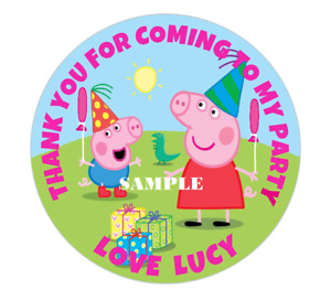 PEPPA PIG V2 Personalised Round Stickers Birthday Party Circle Labels 40/60mm